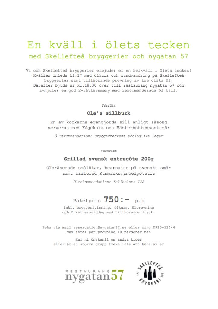 Event- en kväll i ölets tecken - Skellefteå bryggeri + Nygatan 57